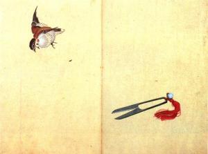 Katsushika Hokusai, Pair of Scissors and Sparrows